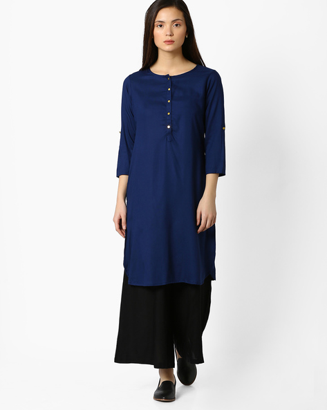 Straight Kurta With Front Placket By FUSION ( Navy )