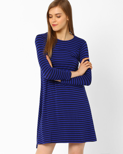 Striped A-line Dress By CHEMISTRY ( Blue )