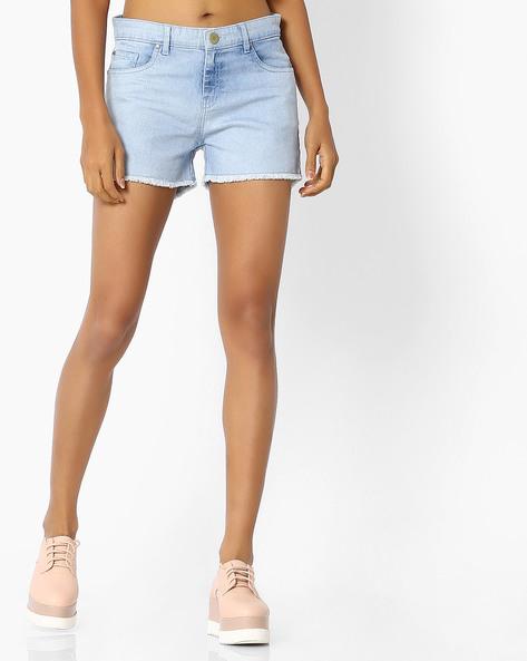 5-Pocket Shorts With Frayed Hems By Blue Saint ( Blue )