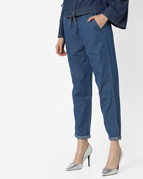 Flat-Front Trousers With Elasticated Waist By RIO ( Mediumblue )