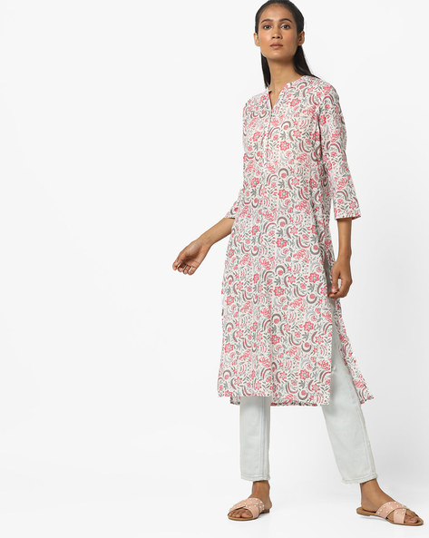 Floral Print Straight Kurta By Melange By Lifestyle ( Offwhite ) - 460184877001