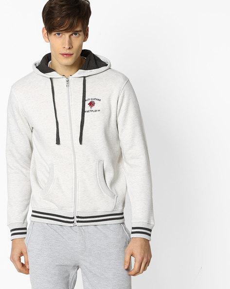 Zip-Front Hoodie With Split Kangaroo Pocket By NETPLAY ( Offwhite )