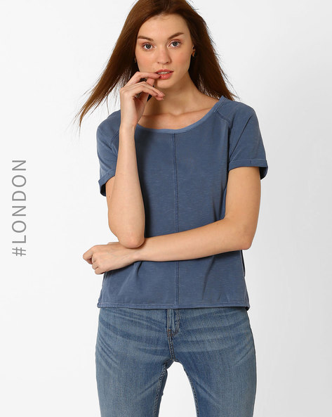 Panelled Dyed T-shirt By Marks & Spencer ( Indigo )