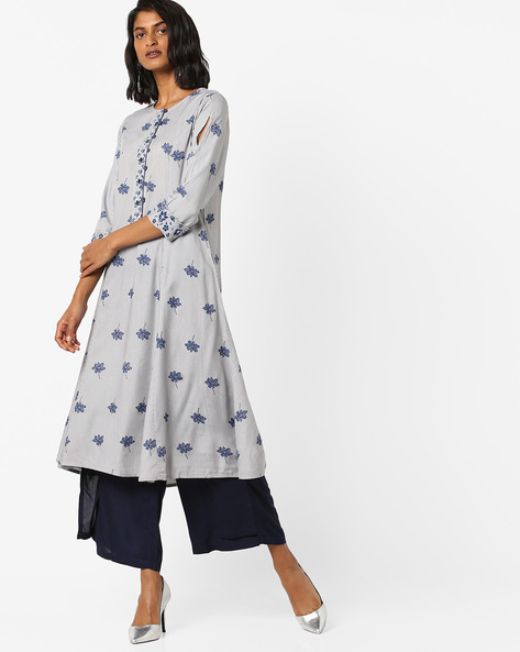 Floral Print A-line Kurta With Embroidery By AJIO ( Lightgrey )
