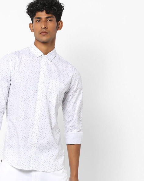 All-Over Print Shirt With Curved Hemline By AJIO ( White )