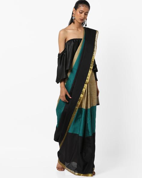 Colourblock Saree With Zari By Florence ( Multi )