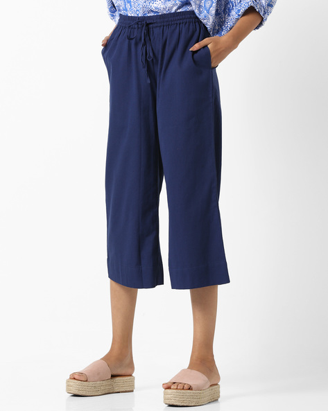 Calf-Length Culottes With Drawstring Waist By Project Eve IW Casual ( Indigo )