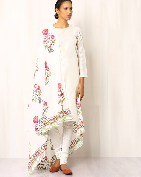 Hand Block Print Cotton Dupatta By Pink Lemon ( White )