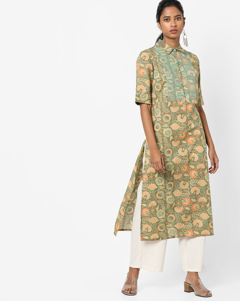 Floral Print Collared Kurta By AJIO ( Olive )