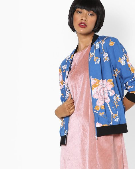 Floral Print Jacket With Ribbed Hems By SAINT TROPEZ ( Blue )