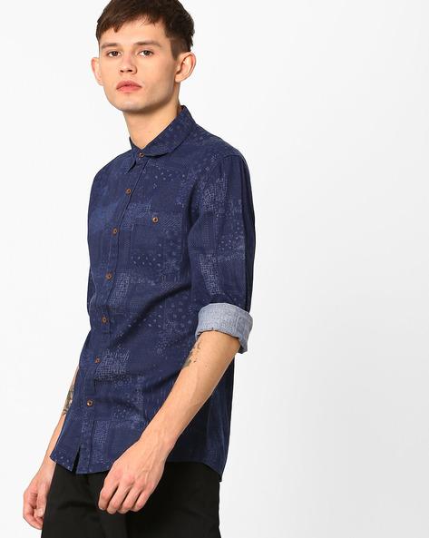 Quartz Print Slim Shirt By WRANGLER ( Blue )