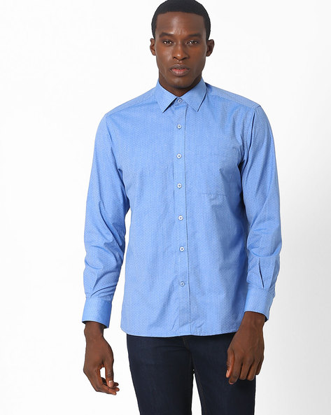 Printed Regular Fit Shirt By JOHN PLAYERS ( Blue )