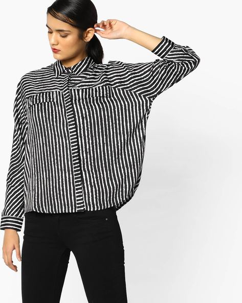 Striped Boxy Shirt With Patch Pocket By Project Eve WW Casual ( Black )