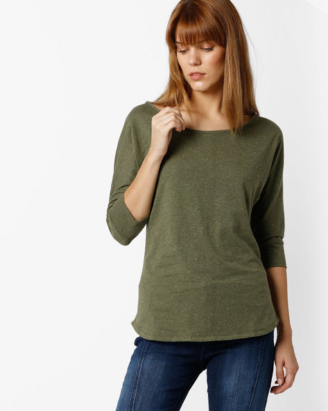 Heathered Crew-Neck T-shirt By FIG ( Olive )