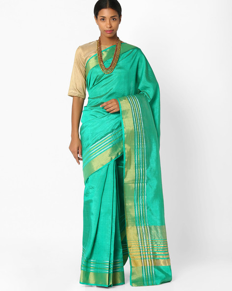 Saree With Thick Zari Border By Amori ( Green )