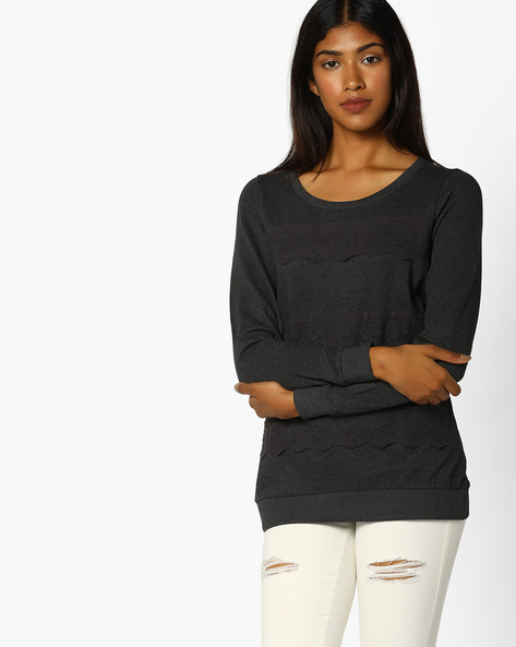 Crew-Neck Sweatshirt With Lace Panels By BOSSINI ( Charcoal )