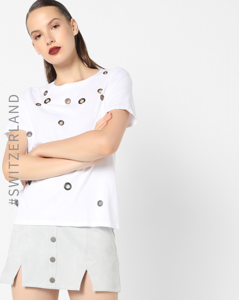 Crew-Neck T-shirt With Eyelets By TALLY WEiJL ( White )