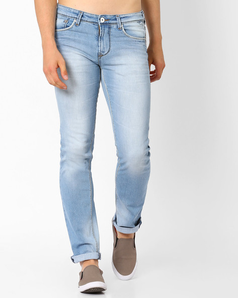 Lightly Washed Slim Fit Jeans By Killer ( Indigo )