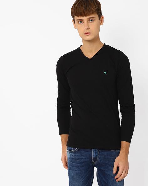 Slim Fit V-neck T-shirt By The Indian Garage Co ( Black )