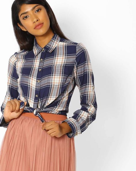 Checked Shirt With Patch Pocket By DNMX ( Blue )