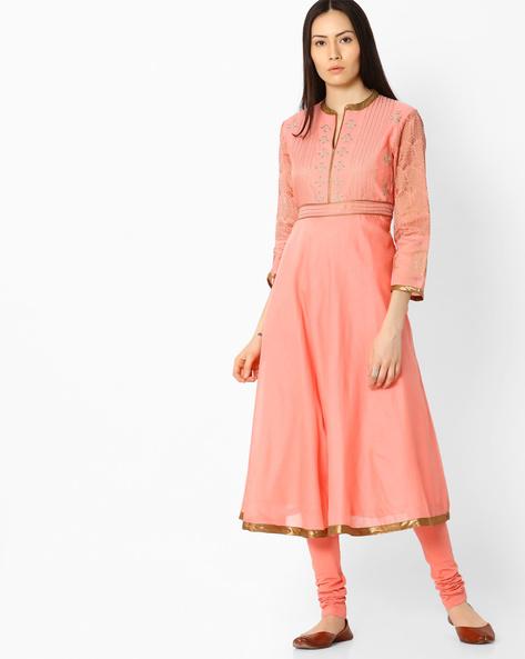 Anarkali Kurta With Embroidery By Biba ( Pink )