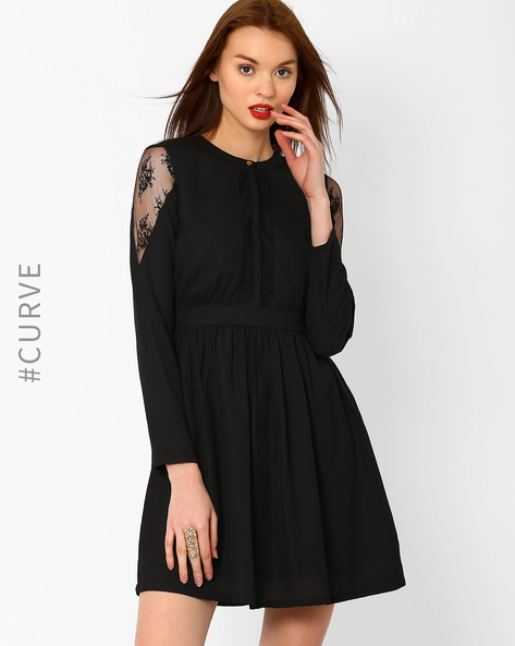 Fit & Flare Dress With Lace Panels By AJIO ( Black )