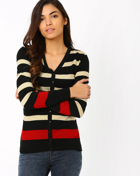 Striped Cardigan By Annabelle By Pantaloons ( Black )