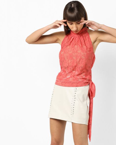 T-back High-Neck Lace Top By AJIO ( Peach )
