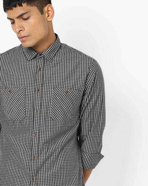 Checked Shirt With Twin Pockets By AJIO ( Offwhite )