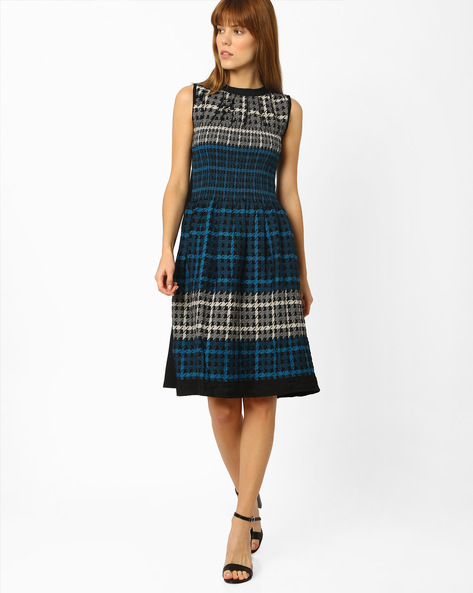 Houndstooth Print Fit & Flare Dress By And ( Multi )