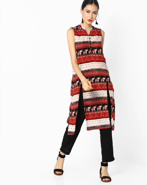 Printed Sleeveless Straight Kurta By Juniper ( Assorted )