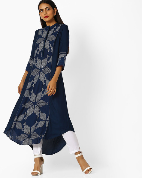 Printed Kurta With Asymmetrical Hemline By W ( White )