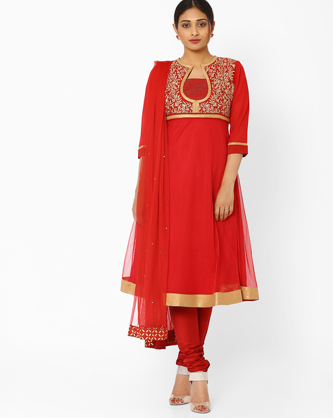 Kurta Suit Set With Dupatta By AJIO ( Red )