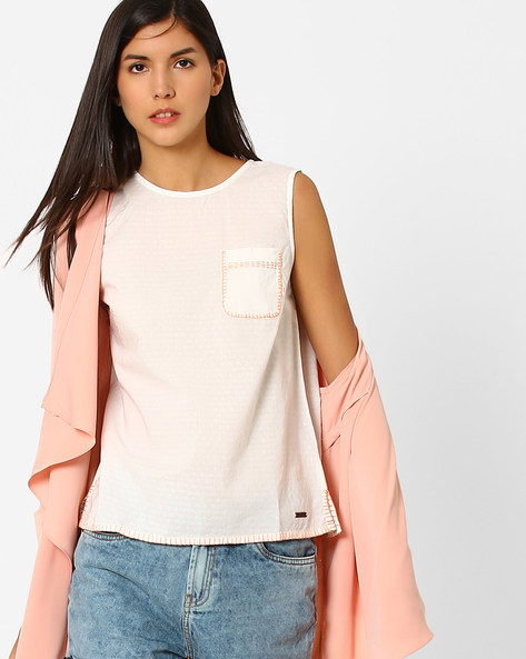 Sleeveless Top With Patch Pocket By Pepe Jeans ( Offwhite )