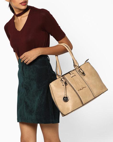 Shoulder Bag With Tassels By FUR JADEN ( Beige )