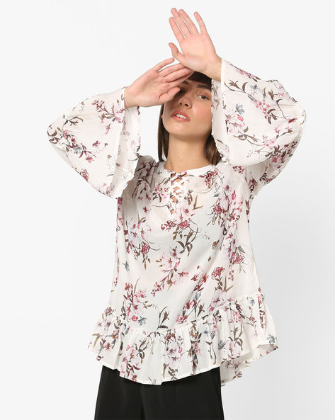 Floral Print Top With Flared Panels By Vero Moda ( White )
