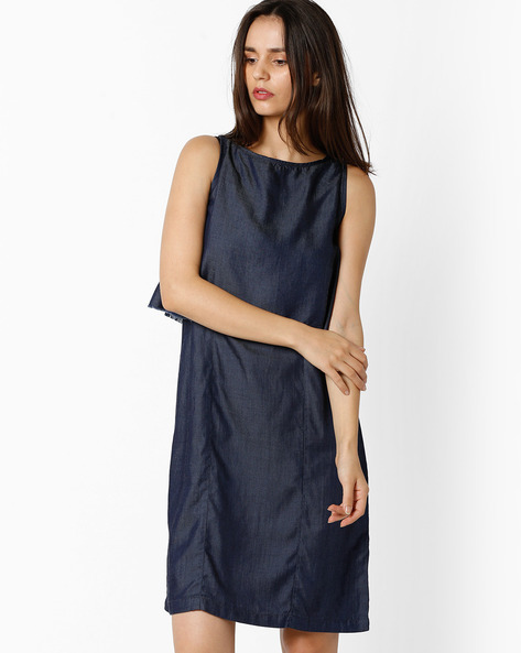 Popover Dress With Keyhole By And ( Ltblue )