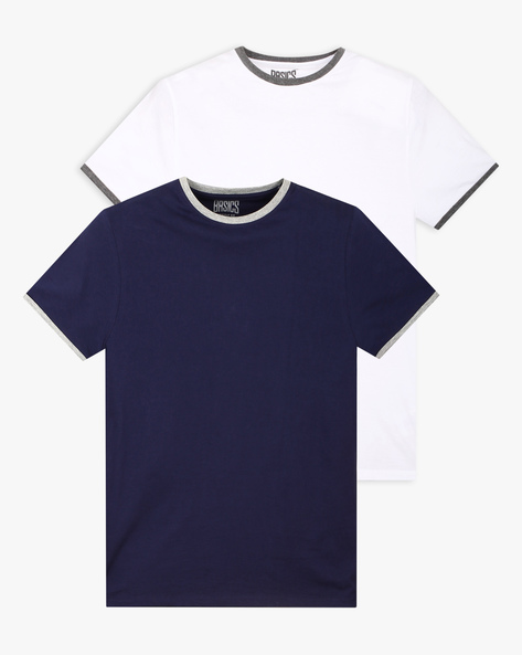 Pack Of 2 Ringer T-shirts By BASICS ( Navy )