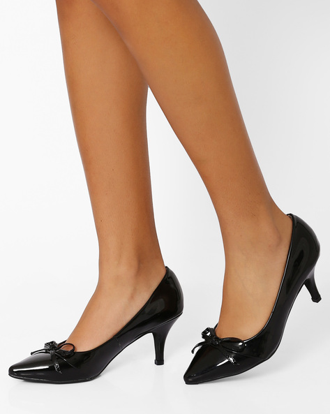 Pointy-Toe Heels With Bow Detail By AJIO ( Black )