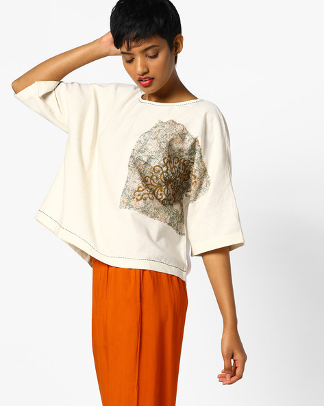 Printed Crew-Neck Boxy Top By PE IW Fusion ( Natural )