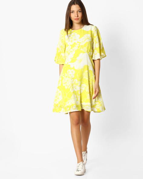 Floral Print A-line Dress By Femella ( Yellow )