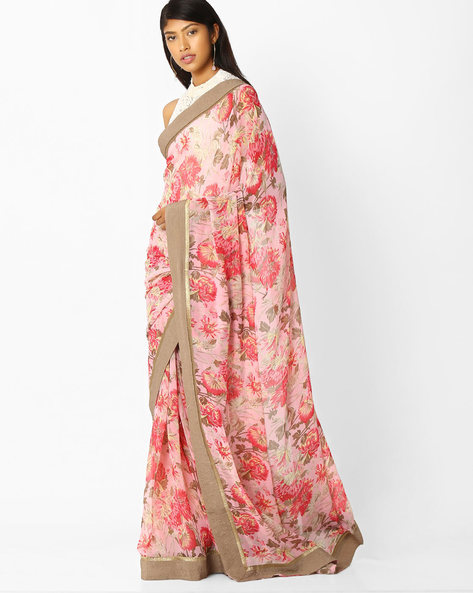 Floral Print Saree With Contrast Border By Arissa ( Pink )