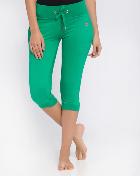 Cuffed Capris With Drawstring Waist By Ajile By Pantaloons ( Green )