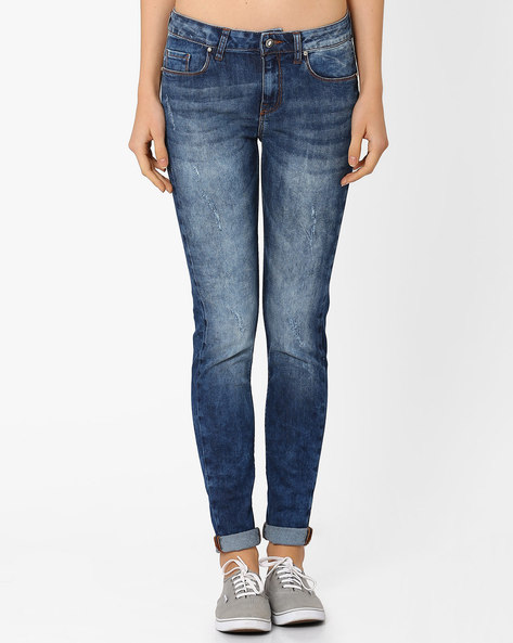 Lightly Washed Distressed Jeans By AJIO ( Blue )