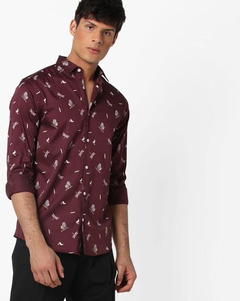 Slim Fit Printed Shirt By Jack & Jones ( Red ) - 460186143003