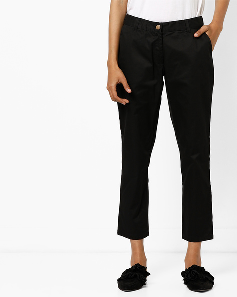 Mid-Rise Flat Front Trousers By AJIO ( Black )