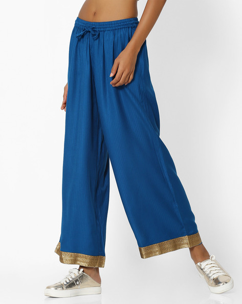 Palazzo Pants With Contrast Taping By AVAASA MIX N' MATCH ( Blue )