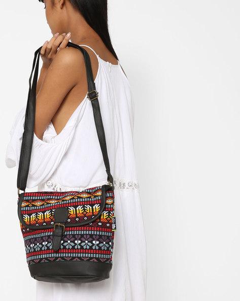 Jacquard Weave Sling Bag By Kanvas Katha ( Black )