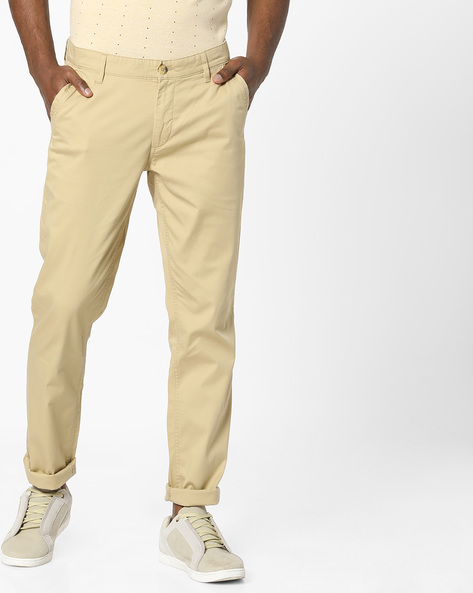 Slim Fit Flat-Front Trousers By JOHN PLAYERS ( Beige )