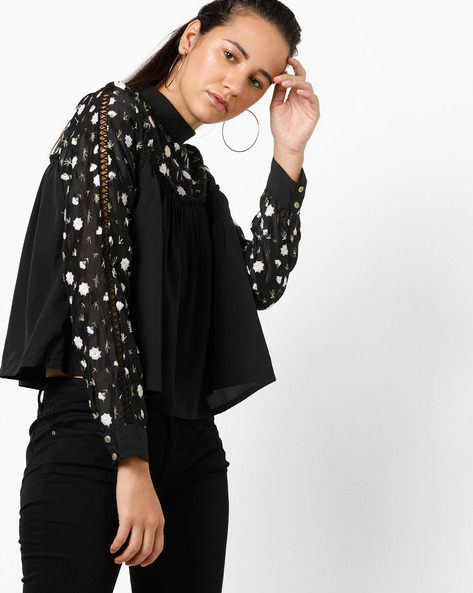 Boxy Top With Floral Embroidery By RIO ( Black )